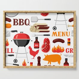 Grilling Season 4th Of July Texas BBQ Print Serving Tray