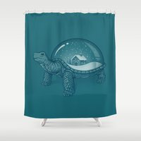 turtles Shower Curtains featuring Home Sweet Home by Enkel Dika