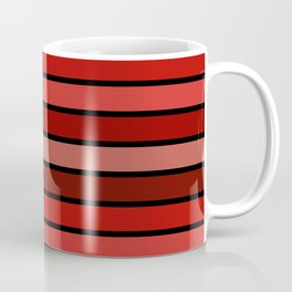 Multicolored Stripes: Shades of Red Coffee Mug