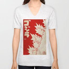 Godzilla Movie Poster Unisex V-Neck