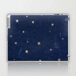 Good night - Leaf Gold Stars on Dark Blue Background Laptop & iPad Skin