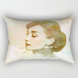 Audrey and Chrysanthemums Rectangular Pillow