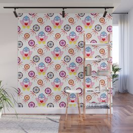 Cute happy winter baby penguins, retro vintage lollipops and sweet candy pattern. Nursery decor. Wall Mural