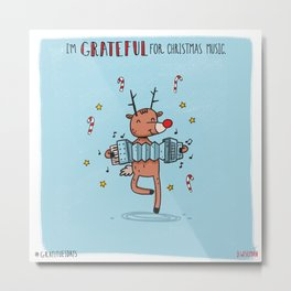 Grateful for Christmas Music Metal Print