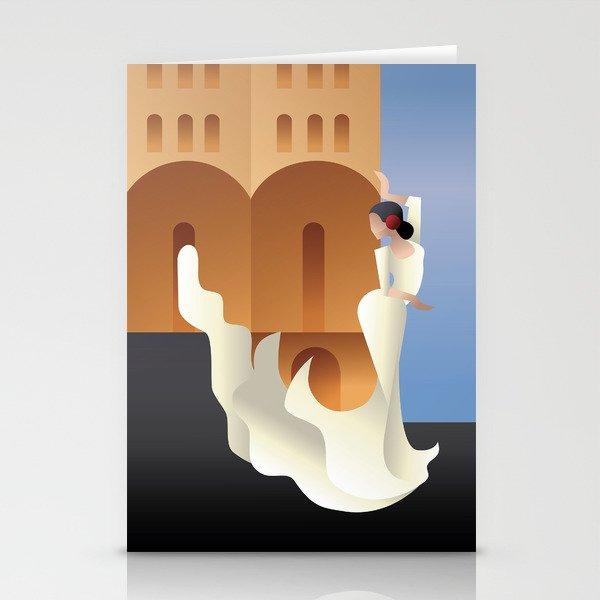 Art Deco Spain Flamenco dancer on sity landscape Stationery Cards