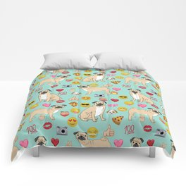 pug emoji dog breed pattern Comforters