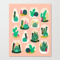garden Canvas Prints featuring Terrariums - Cute little planters for succulents in repeat pattern by Andrea Lauren by Andrea Lauren Design