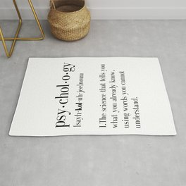 Psychology, Psychology gifts, Psychology definition, funny definition, funny quotes, dictionary art Rug