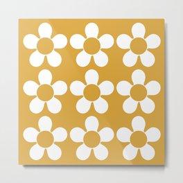 Geometric Golden Yellow & White Summer Daisies Metal Print