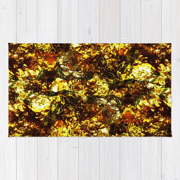 Solid Gold - Abstract, metallic gold textured pattern Rug