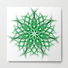 Mandala - Green on White Metal Print