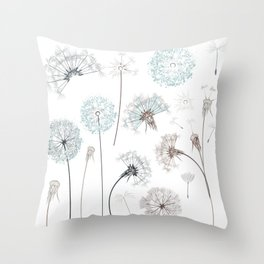 Hand drawn vector dandelions in rustic style Throw Pillow
