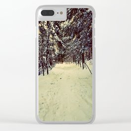 Wintery Snowshoe Hike Clear iPhone Case