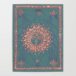 Turquoise and Rose Copper Tarot Sun Poster