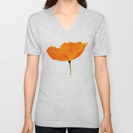 One And Only - Orange Poppy White Background #decor #society6 #buyart Unisex V-Neck