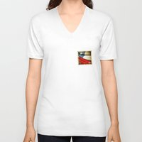 chile V-neck T-shirts featuring Chile grunge sticker flag by Lulla