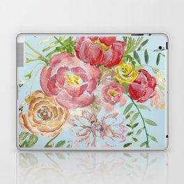 Bouquet of Watercolor on Blue Background Laptop & iPad Skin