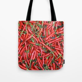 Red hot Chillies background Tote Bag