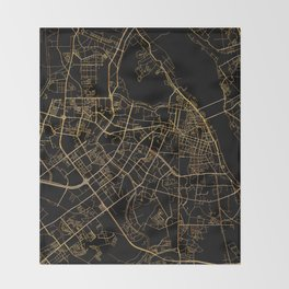 Hanoi map, Vietnam Throw Blanket