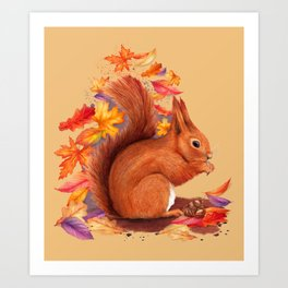 Red Squirrel Watercolour Art Print
