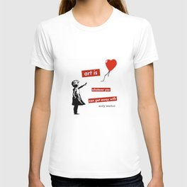 'Art is whatever you can get away' with by Angela Stimson T-shirt