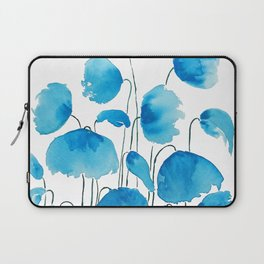 blue poppy field watercolor Laptop Sleeve