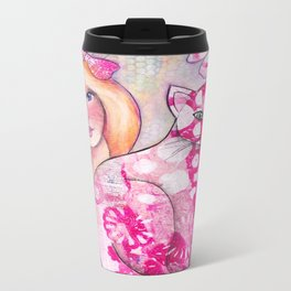 Girl with Pink Cat Travel Mug