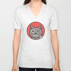 Winking Cartoon Kitty Cat Unisex V-Neck