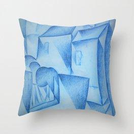 Juan Gris - Digital Remastered Edition - Houses in Paris, Place Ravignan - Original Blue Throw Pillow
