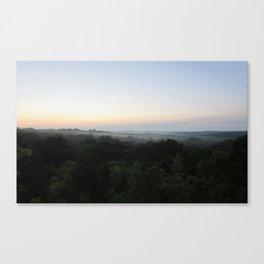 Morning Fog Over Treeline Canvas Print