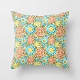 Birds and Flowers Mosaic - Green, orange, yellow Throw Pillow