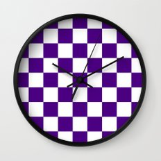 Checker (Indigo/White) Wall Clock
