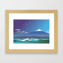Mont Taranaki From The Sea Framed Art Print