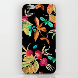 Bright autumn pattern with a dogrose and leaves berries watercolor iPhone Skin