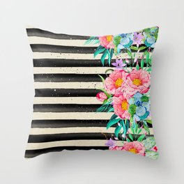 Modern stripes and tropical flowers hand paint Throw Pillow