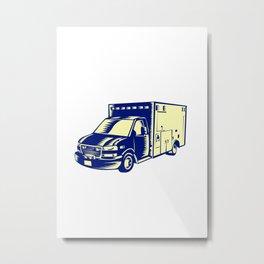 EMS Ambulance Emergency Vehicle Woodcut Metal Print