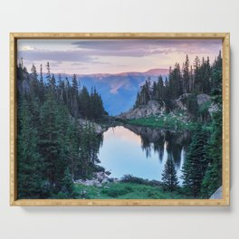 Hikers Bliss Perfect Scenic Nature View \ Mountain Lake Sunset Beautiful Backpacking Landscape Photo Serving Tray