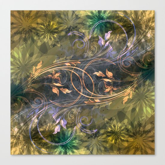 Earth Tone Floral Leaf Swirl Abstract Canvas Print