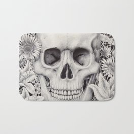 Skull and Flowers Vanitas Bath Mat