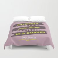 dirty dancing Duvet Covers featuring dirty dancing lilac by 16floor