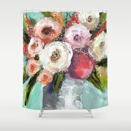Peach and White Roses Shower Curtain