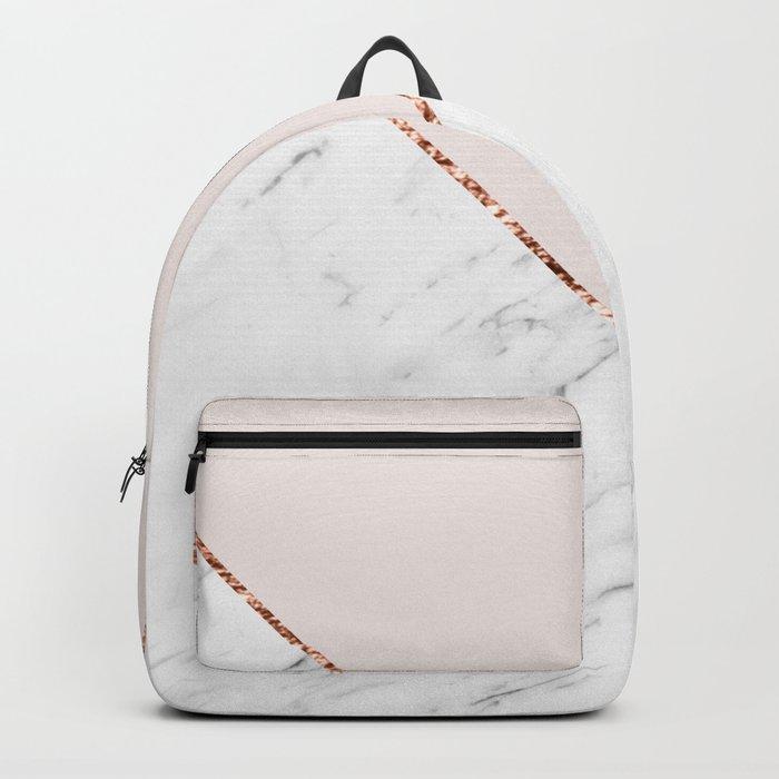 Peony blush geometric marble Backpack