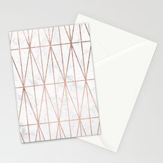 Modern geometric triangles faux rose gold pattern on white marble Stationery Cards