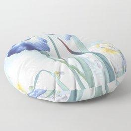 Bee And Blue Iris Flowers - Vintage Japanese Woodblock Print Art By Ohara koson Floor Pillow