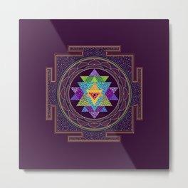 Rainbow Sri Yantra Metal Print
