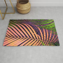 TROPICAL COLORFUL POPPY LEAVES Rug