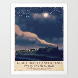 Night train to Scotland Poster Art Print