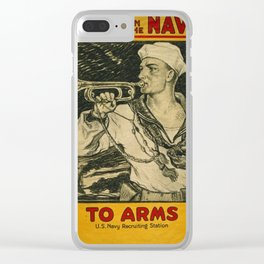 Vintage poster - Enlist in the Navy Clear iPhone Case