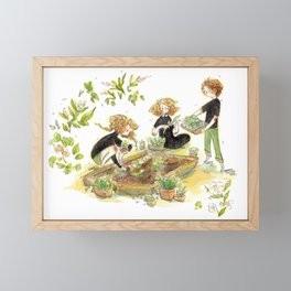 Parsley, Merlin, and Beatrice Gardening Framed Mini Art Print
