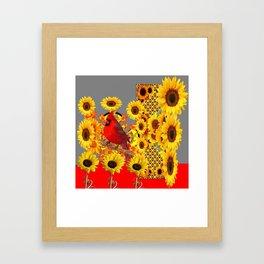 MODERN ABSTRACT RED CARDINAL YELLOW SUNFLOWERS GREY ART Framed Art Print